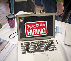 April 23, 2015 - New York, NY, USA - Handy is hiring at the TechDay New York event on Thursday, April 23, 2015.  Employers added 292,00 workers in December and the Labor Dept. revised upwards the October and November employment figures.  (Ã' Richard B. Levine)  (Credit Image: © Richard B. Levine/Levine Roberts/NC via ZUMA Press)
