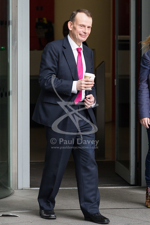 London - Andrew Marr leaves the BBC's Broadcasting House in London after presenting the Andrew Marr Show. February 04 2018.