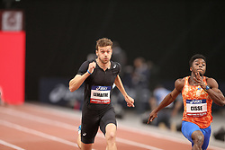 February 7, 2018 - Paris, Ile-de-France, France - From left to right : Christophe Lemaitre of France and Gue-arthur Cisse of Ivory Coast compete in 60m during the Athletics Indoor Meeting of Paris 2018, at AccorHotels Arena (Bercy) in Paris, France on February 7, 2018. (Credit Image: © Michel Stoupak/NurPhoto via ZUMA Press)
