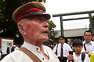August 15, 2016, Tokyo, Japan: This is 91 year old Yuzaburo Yachigo of Fukuoka Prefecture, a Japanese veteran of WW II. He was visiting Yasukuni Shrine today for the 71st anniversary of the end of World War II. Here tens of thousand came to pay their respects for Japan's war dead at Yasukuni, the national Shinto shrine where nearly 2.5 million war dead from the past 150 years are enshrined. Visits to Yasukuni by top Japanese politicians continue to outrage China and South Korea because it honors 14 World War II class A war criminals who are also enshrined there. Even so, dozens of Japanese lawmakers and 2 cabinet ministers visited Yasukuni Shrine today, while PM Shinzo Abe sent a ritual cash offering via his emissary. (Torin Boyd/Polaris).