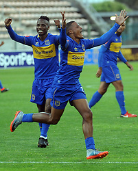 Cape Town 18-02-24 Craig Martin celebrating his goal against wits in the PSL Game In Athlone Staduim Pictures Ayanda Ndamane African news agency/ANA
