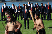 Rugby Union - 2017 British & Irish Lions Tour of New Zealand - British & Irish Lions Visit To Waitangi<br /> <br /> Maori warriors lay a challenge down for Head coach Warren Gatland of the Lions and his team led by Sam Warbrton during the British & Irish Lions Maori Welcome at Waitangi Treaty Grounds  in Waitangi, New Zealand. <br /> <br /> COLORSPORT/LYNNE CAMERON