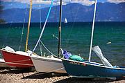 Sailboats on Melita Island, Flathead Lake.