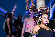 """Student work from various cosmetology schools during """"Hair Affair: The Art of Hair"""" at Madison Museum of Contemporary Art in Madison, WI on Thursday, April 25, 2019. The sixth biennial brought an array of designers and stylists from across Wisconsin to create under the theme of """"Zodiac."""""""