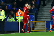Richarlison of Watford celebrates after scoring his teams 1st goal. Premier league match, Everton vs Watford at Goodison Park in Liverpool, Merseyside on Sunday 5th November 2017.<br /> pic by Chris Stading, Andrew Orchard sports photography.