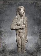 Ancient Egyptian statue bust of a male, graanodiorite, Late Period, (722-322 BC). Egyptian Museum, Turin. Grey background.  white background. Drovetti collection. Cat 3139