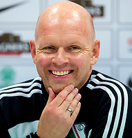 05/08/14<br /> BT MURRAYFIELD STADIUM - EDINBURGH<br /> Legia Warsaw manager Henning Berg speaks to the press ahead of taking on Celtic