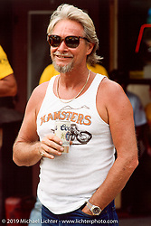 Arlen Ness having a beer on the streets of Beulah, WY during the 50th anniversary of the Sturgis rally. Photograph ©Michael Lichter 1990
