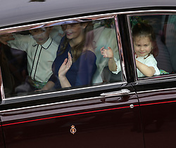 Bridesmaid Princess Charlotte (right) and Lady Louise Mountbatten-Windsor arrives for the wedding of Princess Eugenie to Jack Brooksbank at St George's Chapel in Windsor Castle.