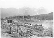 """Leased D&RGW #462 with southbound freight at Lizard Head.<br /> RGS  Lizard Head, CO  Taken by Moedinger, William - 8/19/1941<br /> In book """"RGS Story, The Vol. IV: Over the Bridges? Ophir Loop to Rico"""" page 272<br /> Also in """"Silver San Juan"""", p. 424 and """"Narrow Gauge Country 1870-1970"""", p. 260."""