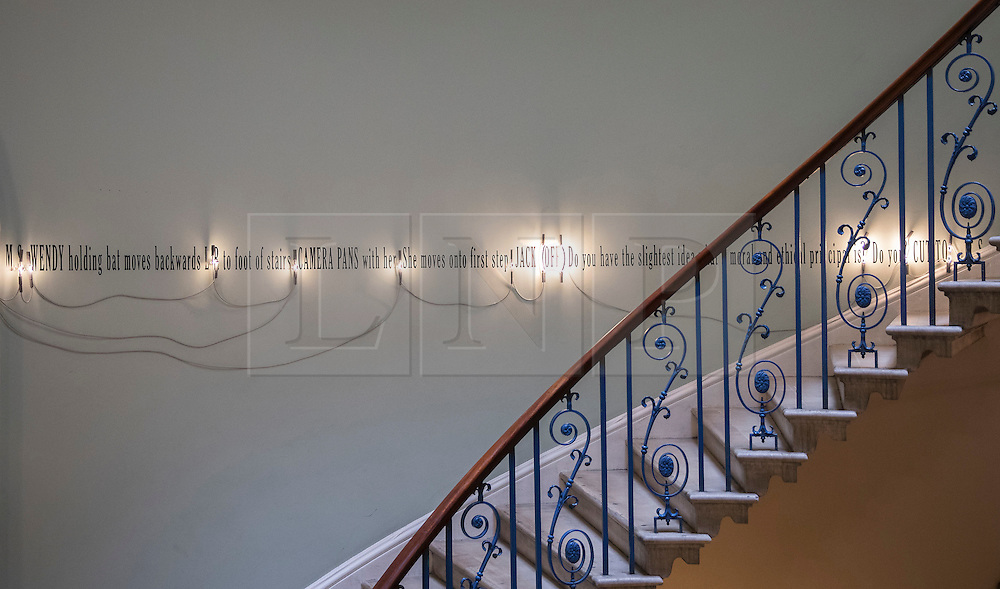 © Licensed to London News Pictures. ('A Grammatical Remark' #9, London) by Joseph Kosuth lines the Nelson Stair at the exhibition Daydreaming with Stanley Kubrick in partnership with Canon at Somerset House in London. The show opens on July 6, 2016 and runs until August 24, 2016.  The exhibition features 50 works inspired by the legendary film director from a host of contemporary artists, musicians and filmmakers. London, UK.   Photo credit: Peter Macdiarmid/LNP