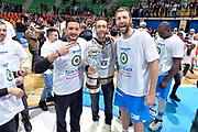 DESCRIZIONE : Final Eight Coppa Italia 2015 Finale Olimpia EA7 Emporio Armani Milano - Dinamo Banco di Sardegna Sassari<br /> GIOCATORE : Massimo Chessa Manuel Vannuzzo<br /> CATEGORIA : esultanza post game post game<br /> SQUADRA : Banco di Sardegna Sassari<br /> EVENTO : Final Eight Coppa Italia 2015<br /> GARA : Olimpia EA7 Emporio Armani Milano - Dinamo Banco di Sardegna Sassari<br /> DATA : 22/02/2015<br /> SPORT : Pallacanestro <br /> AUTORE : Agenzia Ciamillo-Castoria/Max.Ceretti