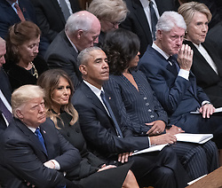 United States President Donald J. Trump, first lady Melania Trump, former US President Barack Obama, former first lady Michelle Obama, former US President Bill Clinton, and former US Secretary of State Hillary Rodham Clinton react during the eulogies to the the late former US President George H.W. Bush at the National funeral service in his honor at the Washington National Cathedral in Washington, DC on Wednesday, December 5, 2018.<br /> Photo by Ron Sachs / CNP/ABACAPRESS.COM