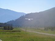 Cessna airplane taking off at Sulphur Creek, Idaho
