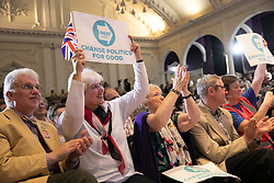 © Licensed to London News Pictures. 20/04/2019. Nottingham, UK. Brexit Party rally. Audience at the Brexit Party rally held at the Albert Hall Conference Centre, Nottingham. Photo credit: Dave Warren/LNP