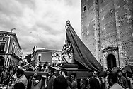 Mérida, Mexico - November 27, 2014: A procession carrying the Virgin Mary departs the Cathedral of Mérida on the anniversary of the coronation of Our Lady of Yucatan.