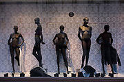 Undressed female mannequins, awaiting latest clothing show body forms and proportions in a central London street. As proof of how the fashion and retail industries see the perfect woman's form, we see a skinnier look, the proportions of a curvy rather than a rounded female shape. Womens' groups however see this as unrepresentative, undermining how women see themselves portrayed accurately in the shop window and therefore in everyday life.