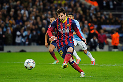 Barcelona Midfielder Lionel Messi (ARG) strikes a penalty to give his side a 1-0 lead - Photo mandatory by-line: Rogan Thomson/JMP - Tel: 07966 386802 - 18/02/2014 - SPORT - FOOTBALL - Etihad Stadium, Manchester - Manchester City v Barcelona - UEFA Champions League, Round of 16, First leg.