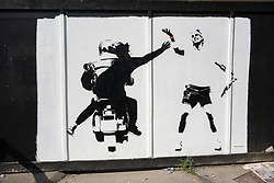 July 4, 2018 - London, London, UK - London, UK. A street art mural depicting Spanish tennis Rafael Nadal being robbed of his £550,000 Richard Mille RM27-03 wrist watch by a moped gang is on a wall in Southfields, near Wimbledon All England Lawn Tennis and Croquet Club during the tennis championships. The mural is signed #Fussy Human. (Credit Image: © Ray Tang/London News Pictures via ZUMA Wire)