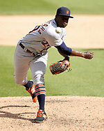 CHICAGO - APRIL 28:  Victor Alcantara #58 of the Detroit Tigers pitches against the Chicago White Sox on April 28, 2019 at Guaranteed Rate Field in Chicago, Illinois.  (Photo by Ron Vesely)  Subject:   Victor Alcantara