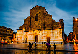 The Basilica di San Petronio floodlit on a wet rainy evening, Bologna, Italy<br /> <br /> (c) Andrew Wilson | Edinburgh Elite media