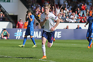 Thomas Doyle of England (8) celebrates scoring during the UEFA European Under 17 Championship 2018 match between England and Italy at the Banks's Stadium, Walsall, England on 7 May 2018. Picture by Mick Haynes.
