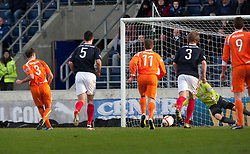 Forfar Athletic's Iain Campbell (3) scoring their first goal..half time : Falkirk v Forfar Athletic, Scottish Cup fifth round tie, 2/2/2013. .©Michael Schofield.