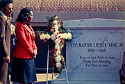 Coretta Scott King, widow of asassinated civil rights leader - Martin Luther King, Jr. - visits the slain minister's gravesite at the King Center next to the historic Ebeneezer Baptist Church in Atlanta, GA.