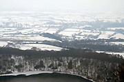 View of the snowy winter landscape from Sutton Bank, North Yorkshire, UK on 3 March 2018
