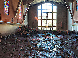 Jan 11, 2018 - Montecito, California, U.S. - The damage from mudflow engulfs the chapel at La Casa de Maria in Montecito following the heavy rainfall early Tuesday. (Credit Image: © Mike Eliason/SBC Fire Department/ZUMA Wire)