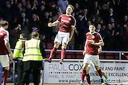 Northampton Town striker Sam Hoskins (14) scores a goal and celebrates (2-1) during the EFL Sky Bet League 1 match between Northampton Town and Rochdale at Sixfields Stadium, Northampton, England on 17 December 2016. Photo by Dennis Goodwin.