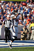 Denver Broncos wide receiver Cody Latimer (14) jumps in the air while catching a kick off during the 2017 NFL week 3 regular season football game against the against the Buffalo Bills, Sunday, Sept. 24, 2017 in Orchard Park, N.Y. The Bills won the game 26-16. (©Paul Anthony Spinelli)