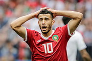 Younes Belhanda of Morocco reacts during the 2018 FIFA World Cup Russia, Group B football match between Portugal and Morocco on June 20, 2018 at Luzhniki stadium in Moscow, Russia - Photo Thiago Bernardes / FramePhoto / ProSportsImages / DPPI