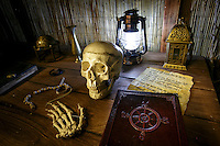 Anything can be a clue, like the skull, note and ship's log at Maze Rooms Los Angeles in Tarzana, CA. Shot October 5, 2016.  Photo by David Sprague