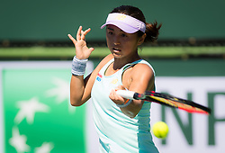 March 7, 2019 - Indian Wells, USA - Misaki Doi of Japan in action during her first round match of the 2019 BNP Paribas Open WTA Premier Mandatory tennis tournament (Credit Image: © AFP7 via ZUMA Wire)