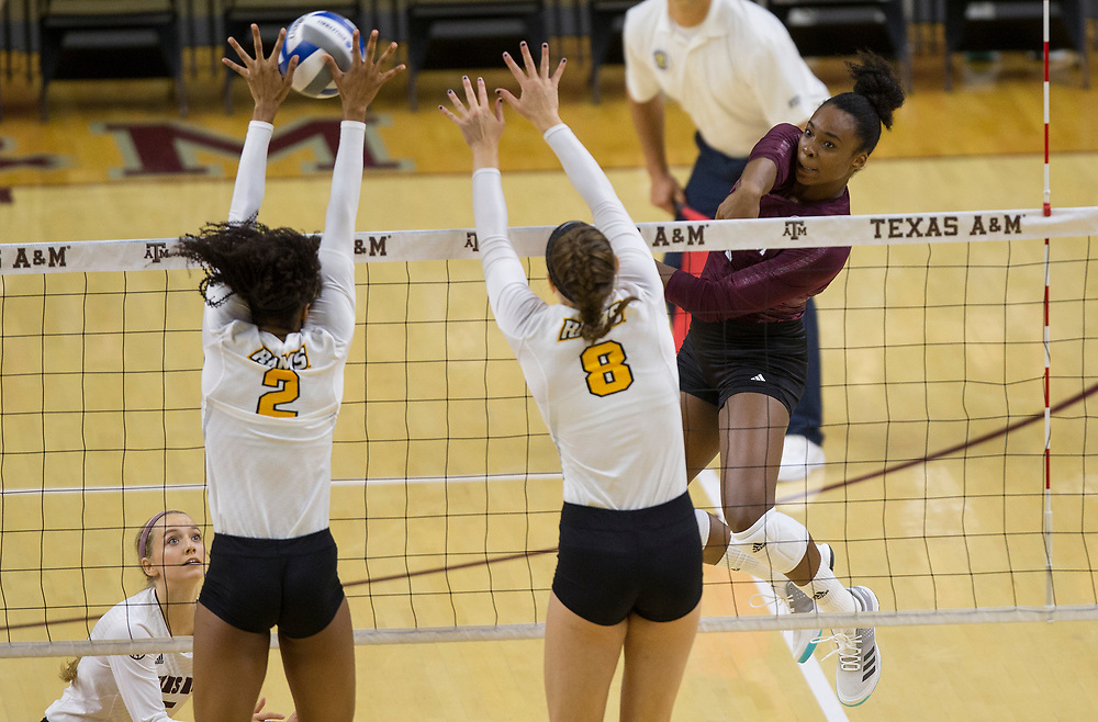 VCU vs. Texas A&M NCAA college volleyball game Saturday, Aug. 26, 2018, in College Station, Texas.