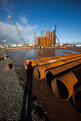 Pipes used in the constructiuon of the new ethane storage tank at Grangemouth refinery. The Sun had access to the plant for a 'year on' tale (last year the plant closed following strike action - this is an update piece).