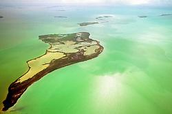 algae bloom, Eagle Key, Pass Key, Tern Keys, and Park Key ( from front to back ), Everglades National Park, Florida Bay, Florida, Gulf of Mexico, USA