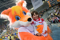 Mascot of Dinamo with young Polish fan at 1st Semifinal match of CEV Indesit Champions League FINAL FOUR tournament between PGE Skra Belchatow, Poland and Dinamo Moscow, Russia, on May 1, 2010, at Arena Atlas, Lodz, Poland. (Photo by Vid Ponikvar / Sportida)