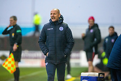 Queen of the South's Manager Allan Johnston. Arbroath 2 v 0 Queen of the South, Scottish Championship game played 15/2/2020 at Arbroath's home ground, Gayfield Park.