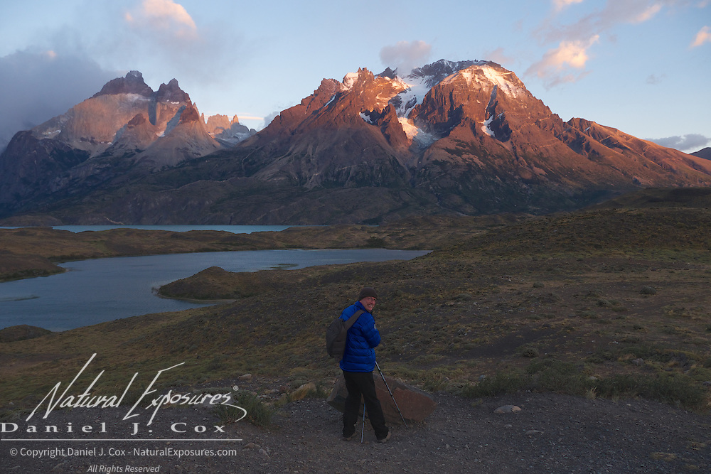 Jim getting images of the alpinglow in Torres el Paine, NO, Patagonia