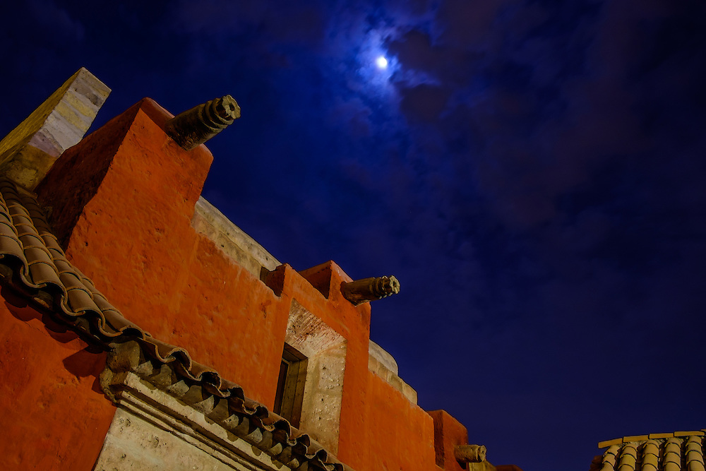 AREQUIPA, PERU - CIRCA APRIL 2014: Architectural detail of the Monastery of Santa Catalina at night in  Arequipa. Arequipa is the Second city of Perú by population with 861,145 inhabitants and is the second most industrialized and commercial city of Peru.