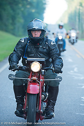 Kirk MacGillivray riding his 1928 Indian Scout during Stage 3 of the Motorcycle Cannonball Cross-Country Endurance Run, which on this day ran from Columbus, GA to Chatanooga, TN., USA. Sunday, September 7, 2014.  Photography ©2014 Michael Lichter.