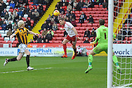 Dean Hammond of Sheffield United heads towards goal  during the Sky Bet League 1 match between Sheffield Utd and Port Vale at Bramall Lane, Sheffield, England on 20 February 2016. Photo by Ian Lyall.