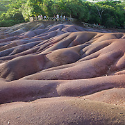 Seven Colored Earth, a tourist attraction that features colorful sands created through the decomposition of basalt.