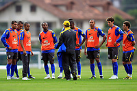 20090603: TERESOPOLIS, BRAZIL - Brazil National Team preparing match against Uruguay. In picture: coach Dunga speaking with players. PHOTO: CITYFILES