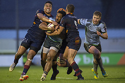 December 8, 2018 - Galway, Ireland - Bundee Aki of Connacht tackled by Lotima Fainga-Anuku and Sadek Deghmache of Perpignan during the European Rugby Challenge Cup between Connacht Rugby and Parpignan at the Sportsground in Galway, Ireland on December 8, 2018  (Credit Image: © Andrew Surma/NurPhoto via ZUMA Press)