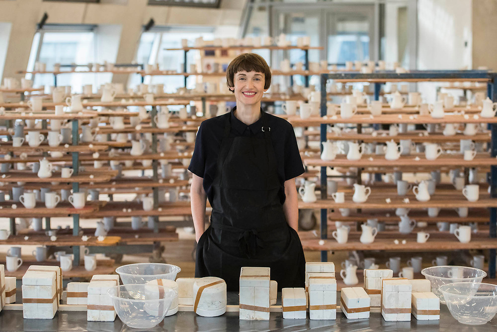 Clare Twomey with FACTORY: the seen and the unseen - an installation in the form of a ceramics factory, by artist Clare Twomey. It is set up in the Blavatnik Building of the Tate Modern and launches the second year of Tate Exchange which, over 2017 and 2018, will focus on the theme of production.
