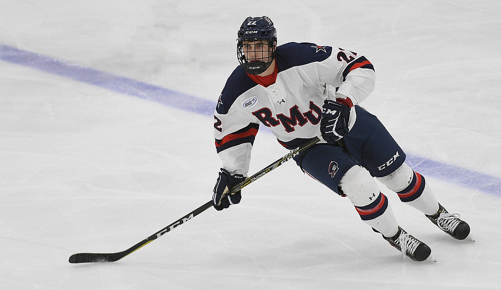 PITTSBURGH, PA - OCTOBER 12: Aidan Girduckis #22 of the Robert Morris Colonials skates during the game against the Bowling Green Falcons at the Colonials Arena on October 12, 2018 in Pittsburgh, Pennsylvania. (Photo by Justin Berl/RMU Athletics)