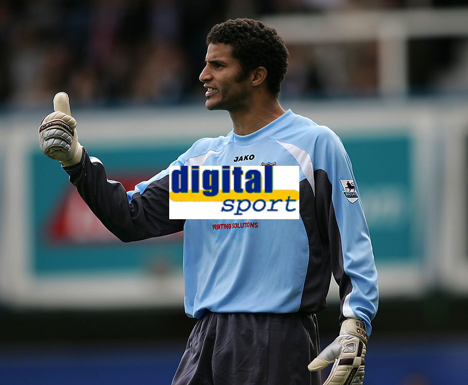 Photo: Lee Earle.<br /> Portsmouth v Wigan Athletic. The Barclays Premiership. 09/09/2006. Portsmouth keeper David James celebrates the win.